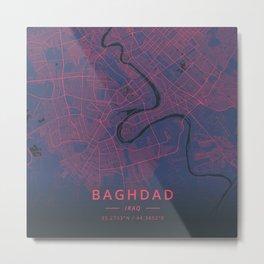 Baghdad, Iraq - Neon Metal Print