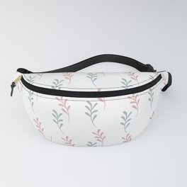 Pink blue gray watercolor hand painted leaves Fanny Pack