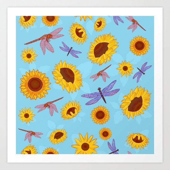 Sunflowers & Dragonflies Art Print