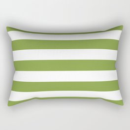 Green and White Stripes Rectangular Pillow