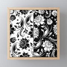 Reversible black and white vintage damasks Framed Mini Art Print