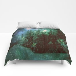 Galaxy Winter Forest Green Comforters