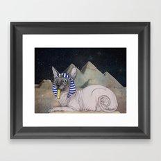 Sphynx Cat (space bg) Framed Art Print