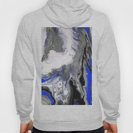 Blue,Black and Silver Fluid Acrylic Painting Abstract Design Hoody