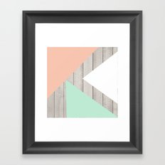 Modern Teal Peach Triangles Color Block on Wood Framed Art Print