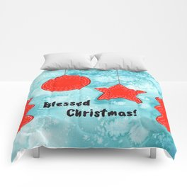 Watercolor Art | Blessed Christmas Greetings Comforters