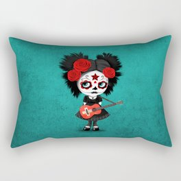 Day of the Dead Girl Playing Swiss Flag Guitar Rectangular Pillow