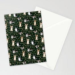 Merry Corgmess- Corgis Celebrate Christmas - green Stationery Cards