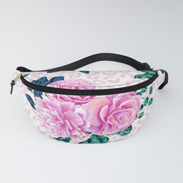 Girly Pink Flowers and Leopard Animal Print Fanny Pack