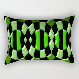 The Green Thang - Abstract Green and Black Retro Design Rectangular Pillow