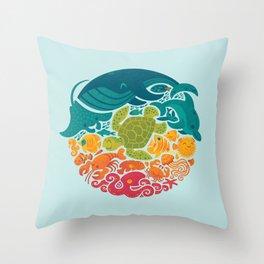 Aquatic Rainbow (light blue) Throw Pillow