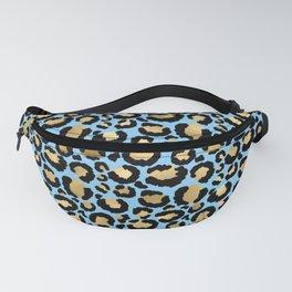 Beautiful Blue & Gold Leopard Print Pattern Fanny Pack