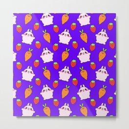 Cute funny Kawaii pink little baby bunnies, happy orange carrots and ripe juicy summer strawberries adorable lovely purple fruity pattern design. Nursery decor ideas. Metal Print