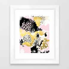 Simone - abstract painting gold foil trendy hipster pastel pink modern trendy colors decor college Framed Art Print