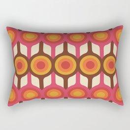 Magenta, Orange, Ivory & Brown Retro 1960s Circle Pattern Rectangular Pillow