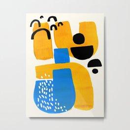 Mid Century Modern abstract Minimalist Fun Colorful Shapes Patterns Ikea Yellow & Blue Metal Print