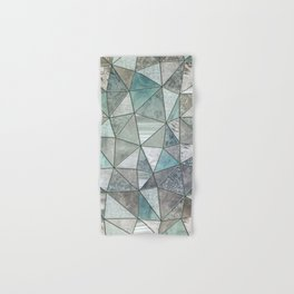 Teal And Grey Triangles Stained Glass Style Hand & Bath Towel