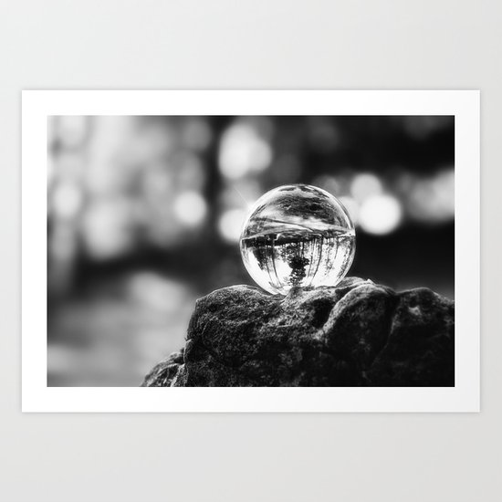 LIFE IN MONO - The glass ball Art Print