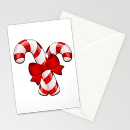 Candy Canes with a Bow Stationery Cards