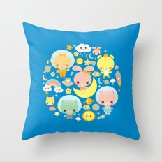 Kawaii Space Friends  Throw Pillow