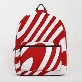 Red Candy Cane Zebra Grooves Abstract Pattern Backpack