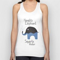 Naughty Elephant Squirts Water. Unisex Tank Top