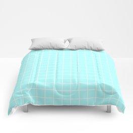 Celeste - heavenly color - White Lines Grid Pattern Comforters