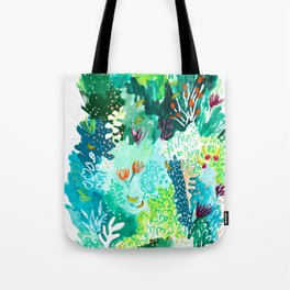 Twice Last Wednesday: Abstract Jungle Botanical Painting Tote Bag