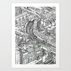 The Town of Train 2 Art Print