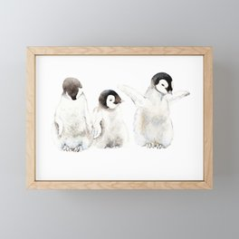 Playful Penguin Chicks - Watercolor Painting Framed Mini Art Print