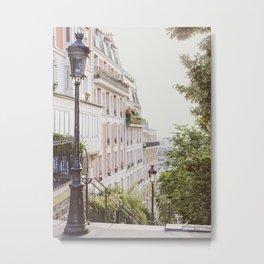 Montmartre Stairs - Paris Travel Photography Metal Print