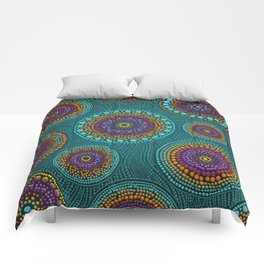 Dot Art Circles Teals and Purples #2 Comforters