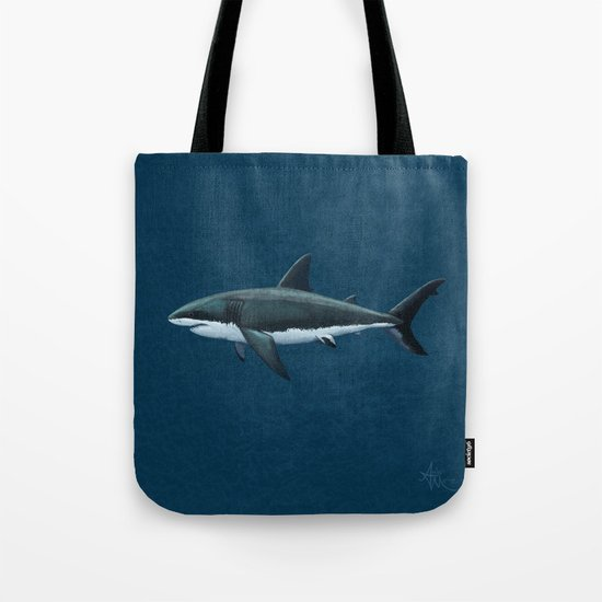 Carcharodon carcharias  ~ Great White Shark Art by Amber Marine Tote Bag