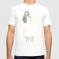 No.6 Fashion Illustration Series White Mens Fitted Tee MEDIUM