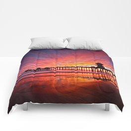 Sunset Huntington Beach Pier CA   Comforters