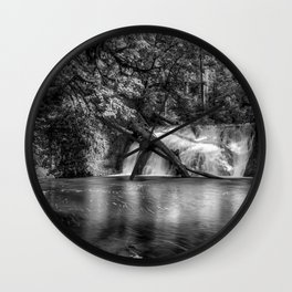 Lower North Falls BW Wall Clock