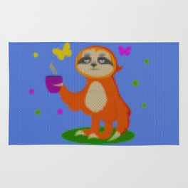 Cute Knit style Sloth with a coffee cup Rug