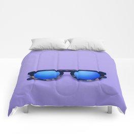 Blue Lens Sunglasses on a Purple Background Comforters