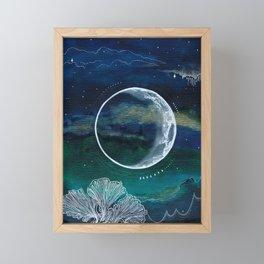 Crescent Moon Mixed Media Painting Framed Mini Art Print
