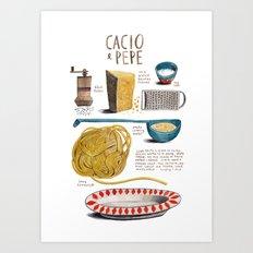 illustrated recipes: cacio e pepe Art Print