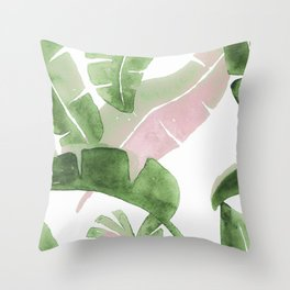 Tropical Leaves Green And Pink Throw Pillow