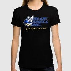 Mario Kart: Blue Shell Inc (no distressing) Black MEDIUM Womens Fitted Tee