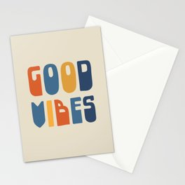 Good Vibes Positive Retro Typography in Blue, Orange, and Mustard on Light Beige Stationery Cards