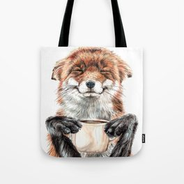 """"""" Morning fox """" Red fox with her morning coffee Tote Bag"""