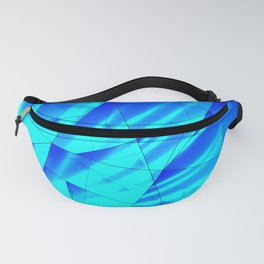 Bright sunshine on celestial and blue triangles of irregular shape. Fanny Pack
