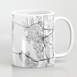 Seattle White Map Coffee Mug