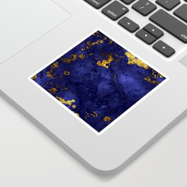 Gold Blue Indigo Malachite Marble Sticker