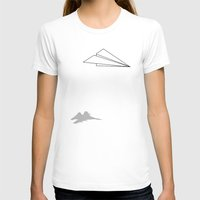 airplanes T-shirts featuring Paper Airplane Dreams by Mobii