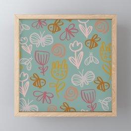 Bee with Flowers Framed Mini Art Print