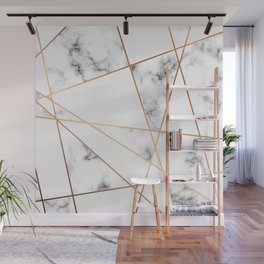 White, Gray, Gold Marble Geometric Pattern Wall Mural
